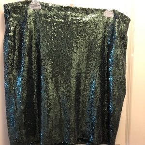 Charlotte Russe Green Sequined Mini Skirt